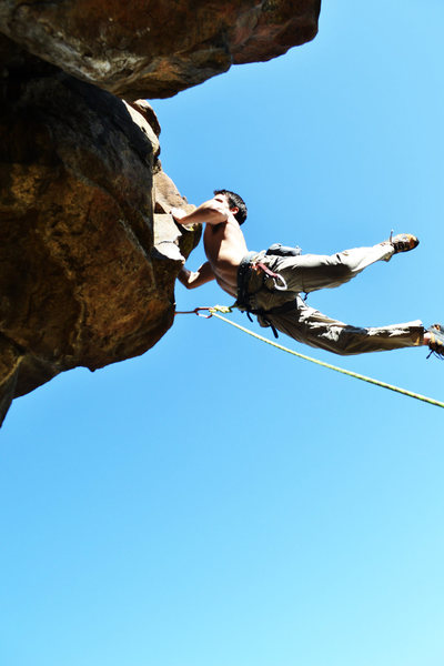 Rock Climbing Photo: Feet cutting going for the jug on this route.