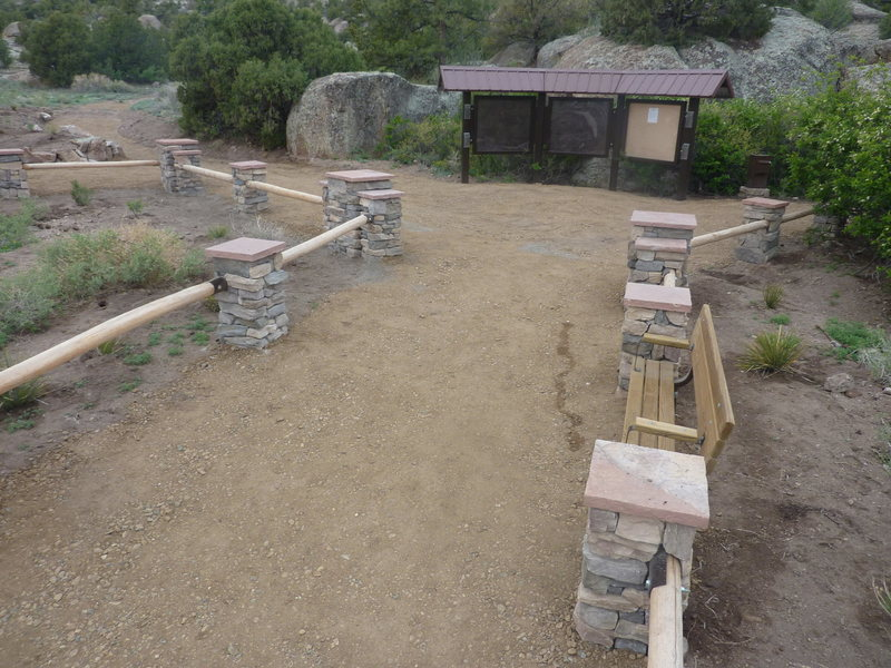 Penitente Canyon entrance area after the work - lots of new plants moved in and trail compacted nicely