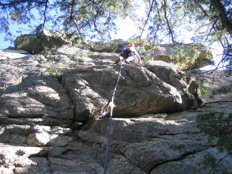 Rock Climbing Photo: Jon above the bulge at the single bolt.