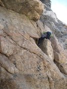 Rock Climbing Photo: Awkward P4 traverse below the V-Slot pitch