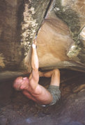Rock Climbing Photo: Here is the crux, where it pinches down before the...