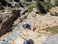 Rock Climbing Photo: Looking down the first 1-2 pitches of Los Pollos L...