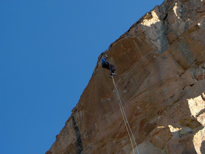 The overhanging rap off the back. Bring two ropes or doubles!