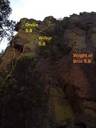 Rock Climbing Photo: The three climbs on the left of Exemplar Tower.