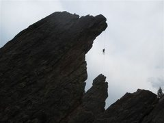 Rock Climbing Photo: The famous rappel as viewed from the Fatiron (also...