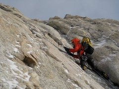 Rock Climbing Photo: Drytooling first headwall pitch, Winter Route, Lon...
