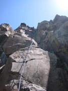 Rock Climbing Photo: Leo stems upper Delegate.  Crux is in the foregrou...