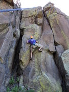 Rock Climbing Photo: Just above the lower crux, shoulder jam, grunt sec...