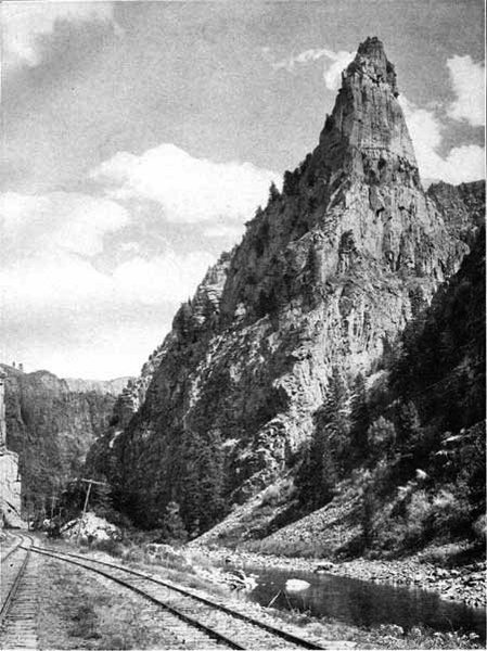 Historic photo of Curecanti Needle before the canyon was flooded by Morrow Point Dam.