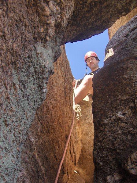 Rock Climbing Photo: fun fun topping out of 4th pitch