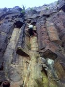Rock Climbing Photo: Chris stemming around the roof on Pansy Direct.  Y...