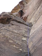 Rock Climbing Photo: My buddy Kevin topping out the route.