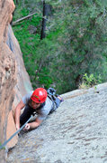 Rock Climbing Photo: Matt F pulling up the second pitch; below him was ...
