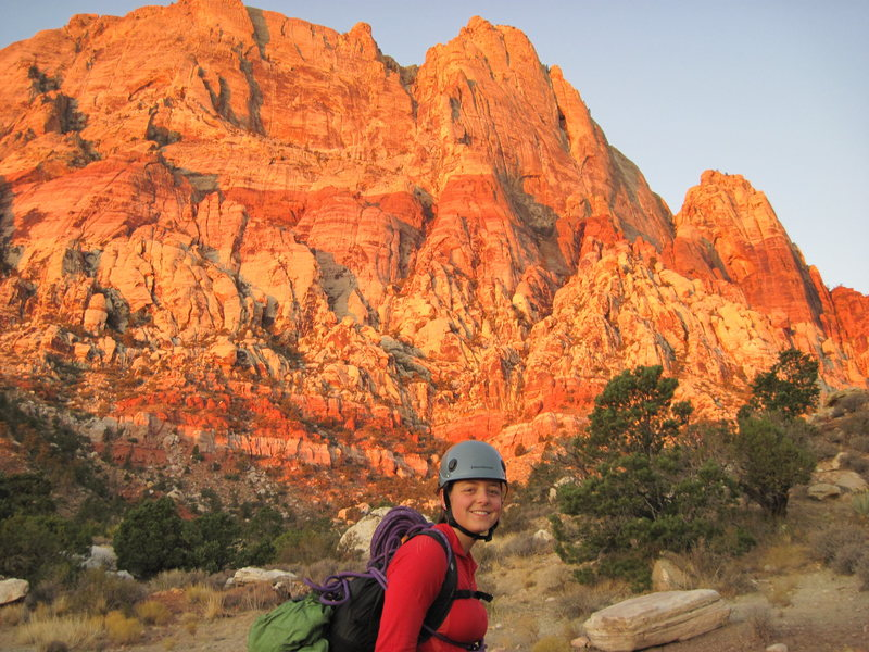 Rock Climbing Photo: Emily on the approach just before sunrise, with th...