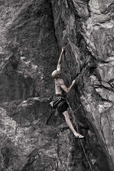 Rock Climbing Photo: Big move.