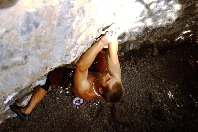 Rock Climbing Photo: Clipping third bolt.