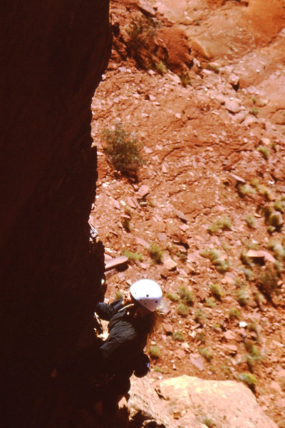 Pulling the arete onto the face. Fun climb!