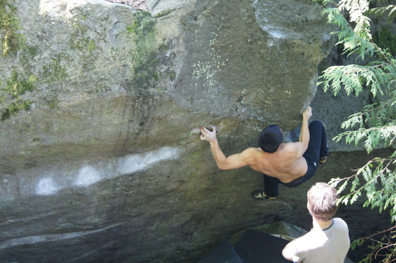 Rock Climbing Photo: Greg catching the pinch-pockets