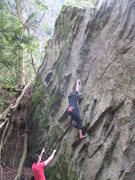 Rock Climbing Photo: Dave VZ trying to stabalize on the slopey left han...