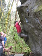 Rock Climbing Photo: Nate trying top get off of the glassey rail and ou...