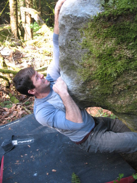 Nate 'hulks' the first move off of two marginal starting holds