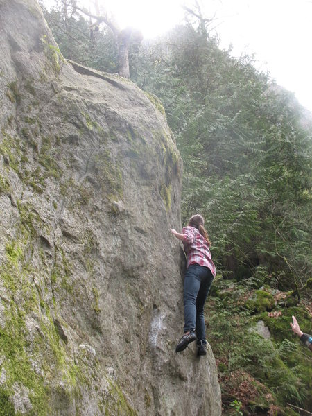 Clare works toward the arete