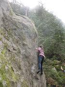 Rock Climbing Photo: Clare works toward the arete