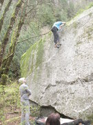 Rock Climbing Photo: Kale goes over the top