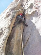 Rock Climbing Photo: The initial fun crack and stemming moves of the cl...