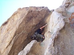 Rock Climbing Photo: The crux of the climb, just a couple of moves away...