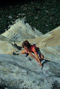 Rock Climbing Photo: John Bachar photo of Lynn Hill, last pitch of The ...