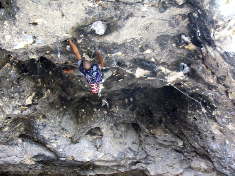 Rock Climbing Photo: Steep climbing at Crystal Cave
