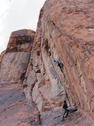 Rock Climbing Photo: Mike four bolts up on Lunatic.
