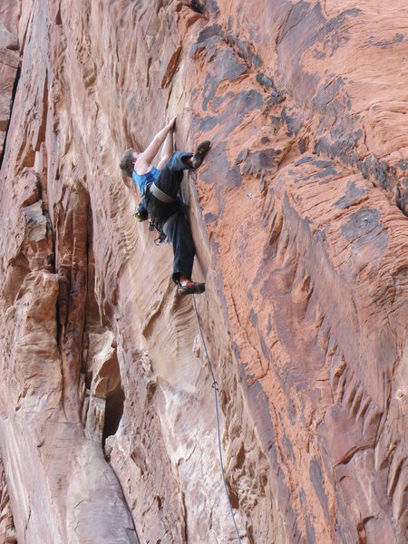 Mike in the middle of Lunatic's crux.