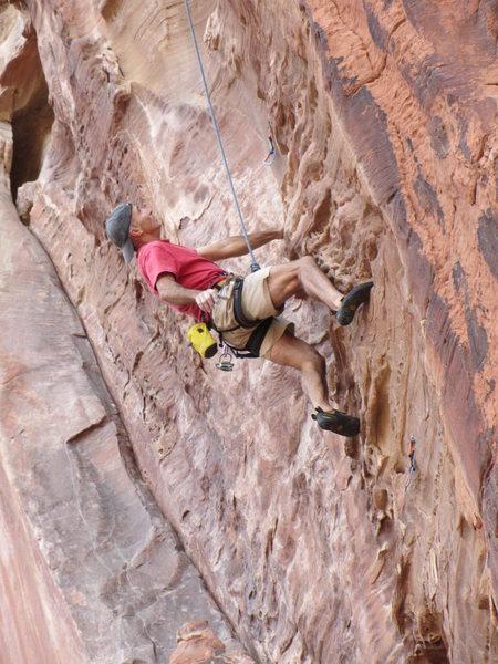 Lee on a toprope burn of Lunatic. Steep!