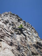 Rock Climbing Photo: Corey leading The Furrows pitch (P10).  One of the...