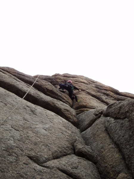 Deb gets into the delicate bit above the slab and your last piece of gear for a bit.