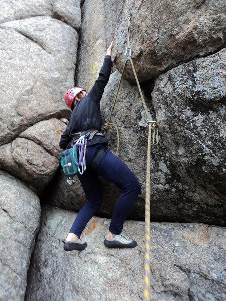 Rock Climbing Photo: Deb reaches up to the horizontal crack.