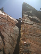 Rock Climbing Photo: Jessica leading Slizzling Summer Solstice Spectacu...