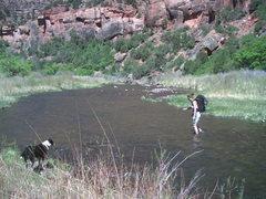 Rock Climbing Photo: Crossing the river to climb.