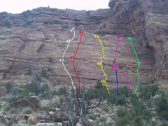 Rock Climbing Photo: Wide Open Spaces Slab.  Routes L->R: Road to No...