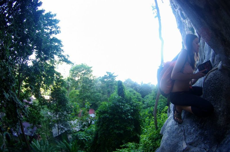 Rock Climbing Photo: 15 foot drop, sizing up the route? above
