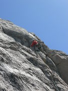 Rock Climbing Photo: Mark makes the move on crux of P2...The Step Aroun...