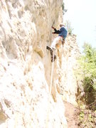 Rock Climbing Photo: Patina Aguilera, 5.10d. Overhung, very blonde rock...
