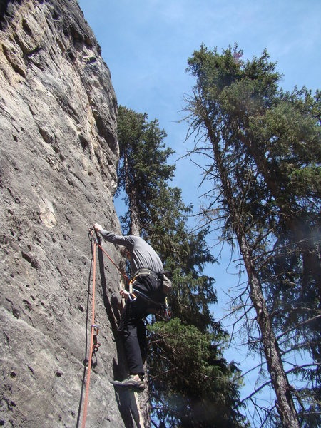 Jerry commits to Party Foul, a route that might be 5.11a to 5.11c depending on how much you've imbibed.<br> <br> The business is between the last two bolts, which seem a million miles apart. <br> <br> Get ready to take the ride if you phuck up the technical sequence. It's gonna be a long one.<br> <br> Far left side of The Party Wall, The Danks. Spearfish Canyon, SD.