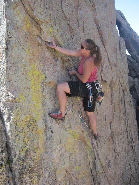 Rock Climbing Photo: Parker Fagrelius leading through to the arete.