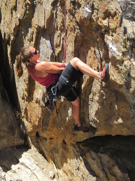 Rock Climbing Photo: Parker Fagrelius eyes the crux moves.