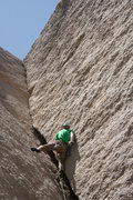 Rock Climbing Photo: Reed Ames in the middle of the squeeze chimney. Th...