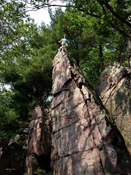 Stew standing atop a small spire found at the base of P2 on Turks Ridge.
