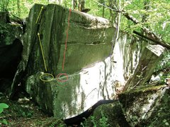 Rock Climbing Photo: The three lines on the Exclamation Point. Yellow=!...